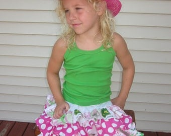 Girls Pink and Green Tractor Farm Themed Ruffle Skirt -  12 18 2T 3T 4T 5/6 7/8 9/10 11/12