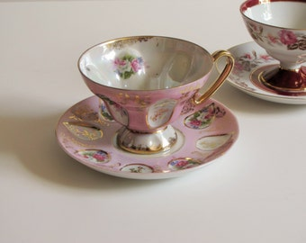 Vintage Pink Lavender Floral Tea Cup - Made in Japan