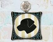 Dog Silhouette Ornament in Fabric - Labrador Retriever