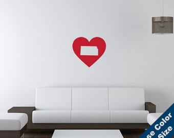 I Heart Kansas State  Wall Decal - Love Sticker - Free Shipping