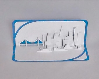 SAN FRANCISCO SKYLINE Pop Up 3D Card Home Decoration Origamic Architecture Hand Cut in White and Metallic Light Blue Folds Flat OOaK