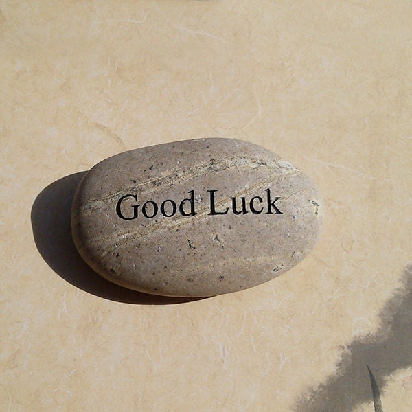 Find Good Luck Stone : Good luck engraved beach pebble message stone by awesomestones