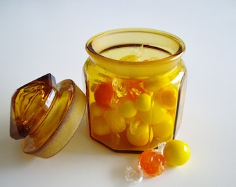 Vintage Glass Jar, Amber Yellow, Jar with Lid, Container, L.E. Smith
