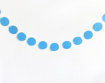 Blue Paper Banner, Circle Bunting Banner, Modern Nursery Decoration, Baby Boys Bedroom, Birthday Party Supply, Circle Garland Streamer