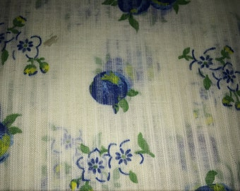 Vintage  Sheer White  Cotton Fabric with Blue Plums, Vintage Textiles, Vintage Fruit Fabric, Cotton Fabric, Sheer Fabric