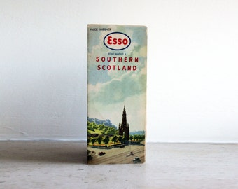 vintage: esso road map of southern scotland