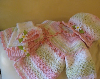 Crocheted Spring  Hat and leg warmer