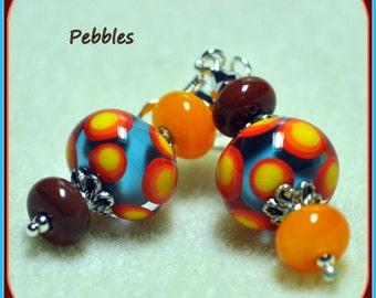 Earrings - PEBBLES - Spotted Colorful Earrings,Dangle Earrings,Glass,Blue Yellow Red Earrings