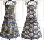 Pig Apron Women's Country Reversible Classy Design Blue