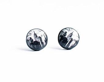 New York earrings studs, travel jewelry, New York stud earrings