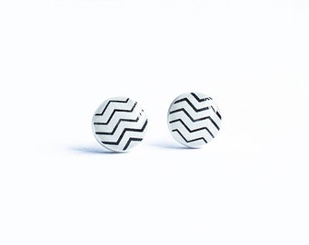 Chevron post earrings, zig zag stud earrings