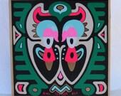 Original Art, Hand painted enamel, Neon pink, Metallic Gold, Doll, Cat, Owl, Wall Decor