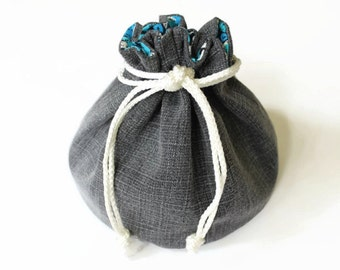 Bright Blue White Black Denim Bucket Bag Upcycled Jeans Small Makeup Bag Girls Travel Tote - US Shipping Included