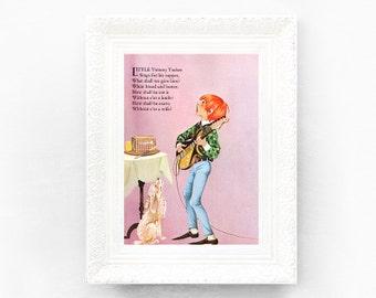 7x9 Little Tommy Tucker Vintage Nursery Rhyme Print. Poem Print Bedroom Grahame Johnstone Christening Baby Shower Gift Nursery Decor Pink