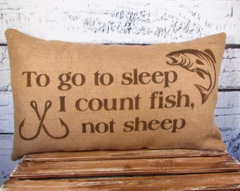 Burlap fish  pillow - To go to sleep, I count fish not sheep - 12X20