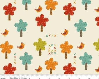 SALE - Giraffe Crossing - Trees Cream by RBD Designers from Riley Blake Fabric