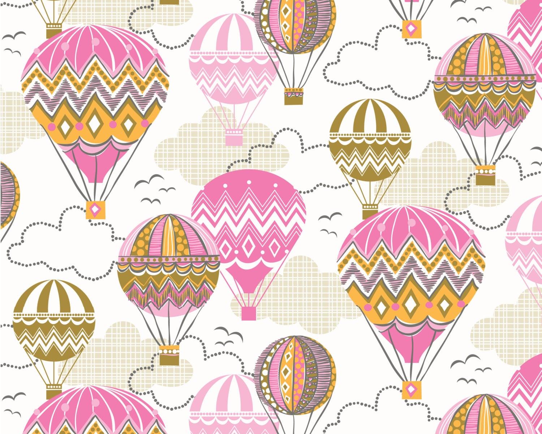 Blown Away Balloon Ride Pink Cotton Print Fabric From Blend