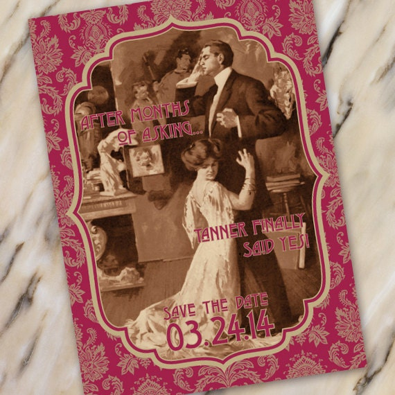 save the date cards, bachelorette party invitations, vintage save the date cards, engagement party invitations, IN338