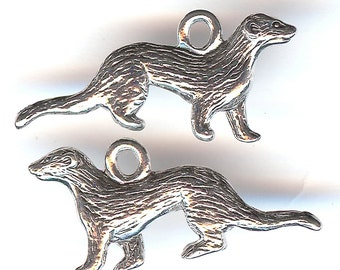 FERRET Charm. Pewter. Two Sided. Weasel. Mink. Marten. Made in the USA.