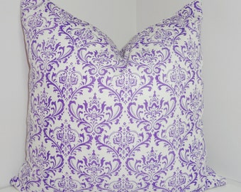Purple White Damask Pillow Cover Decorative Throw Pillow 18x18