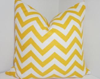 Pillow Cover Corn Yellow & White Zig Zag Chevron Decorative Pillow Cover All Sizes