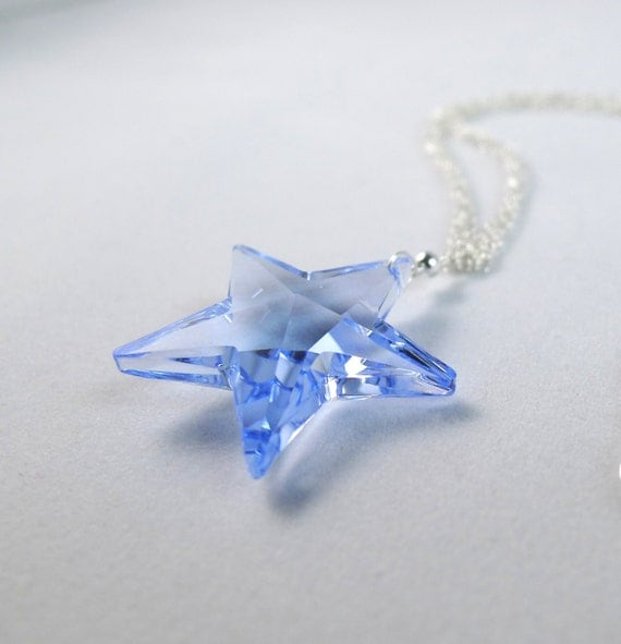Blue Star Swarovski Elements Multi-Chain Necklace in Sterling Silver, Light Sapphire Crystal Wishing Star Bridal Bridesmaid Custom Jewelry