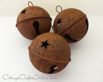 "Rusty Jingle Bell, Extra Large 80 mm, 3"" - SET of THREE - Darice Craft - Christmas Rusted Bell, Primitive Supply / Decor / Embellishment"