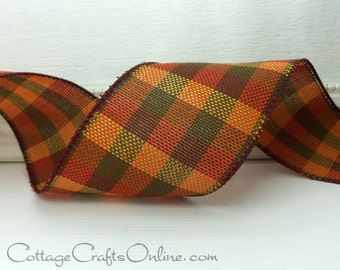 "Wired Ribbon, 2 1/2"", Dark Orange, Olive Green, Cranberry Fall Plaid - Ten Yard Roll - ""Knit Plaid No. 401"", Autumn, Thanksgiving"