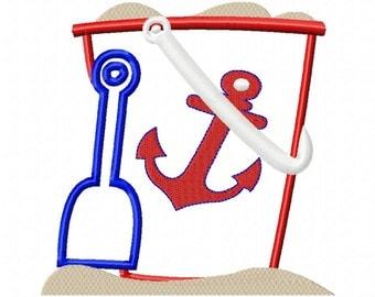 Sand Bucket-Anchor - Applique - 6 Sizes