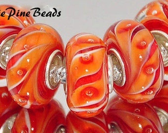 Murano Lampwok Glass Beads for European Style Charm Braceletss WhitePineBeads