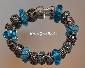 European Charm Bracelet Aqua Blue European Charm Bracelet with Murano Glass Lampwork Beads by WhitePineBeds