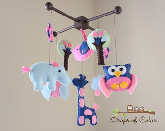 """Baby Crib Mobile - Baby Mobile - Nursery Crib Mobile - Owl, Giraffe, Hippo, Bird """"Forest and Safari Playdate"""" (You can pick your colors)"""
