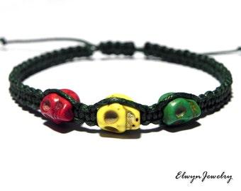 Cord Bracelet, Skull Bracelet, Rasta Bracelet, Macrame Bracelet, Rope Bracelet, Red, Yellow, Green, Mens Jewelry, Mens Gift, Boyfriend Gift