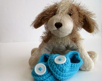 Crochet Baby Booties - Aqua Turquoise with White Button - 3 to 6 Months