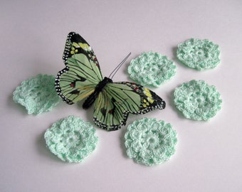 6 Crochet Flower Embellishment Appliques - Mint Green (Set of 6)