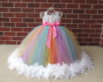 The Hair Bow Factory Multi Color Dot Feather Tutu Dress Size 12 Months to 12