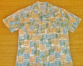 Mens Vintage 70s MOD Bank of Hawaii RARE Hawaiian Shirt - L - The Hana Shirt Co
