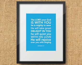 Rejoice Scripture Printable Digital Art Print | Instant Download bible verse - Zephaniah 3:17