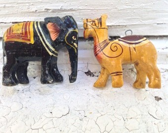Vintage Wooden Animals - Elephant & Camel - Vintage Pendant / Ornament