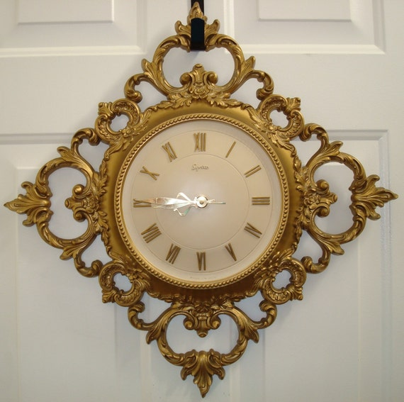 syroco wall clock vintage gold clock ornate resin clock large
