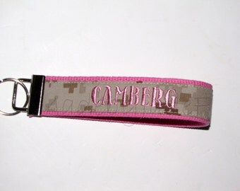 Marine NAME Personalized Key Fob in Bubblegum Pink ~ Other colors available