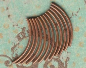 38mm Curved Brushed Antique Copper Plated Tubes- 12 pieces