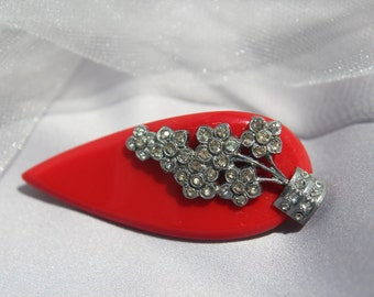 Art Deco Rhinestone And Red Bakelite Fur Clip/Haircomb, Wedding Hair Accessories, Bridal Hair Comb, Wedding Brooch