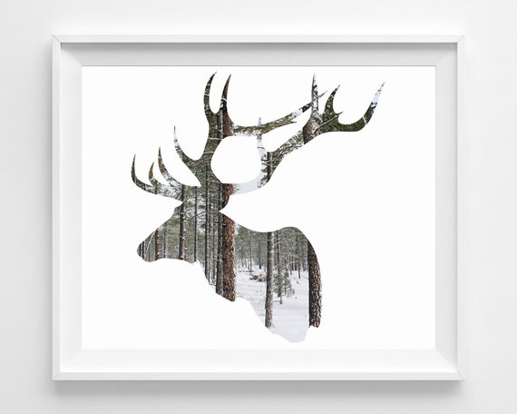 Deer Elk Photography Modern Minimal Rustic Silhouette