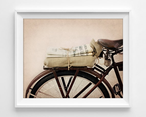 "Bike Bicycle Photograph Unframed / newspaper vintage bicycle / brown rust taupe tan rustic bike urban art / photography print / ""Daily News"""