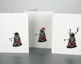 SALE 20% OFF - Doctor Who Dalek Christmas Holiday Letterpress Cards - Set of 6 - Snowman, Santa, Reindeer