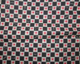 Black and Red ABC Cotton Fabric, Schoolhouse Fabric, Simple Words Print, Elementary School Teaching Fabric, Teachers Print Fabric,