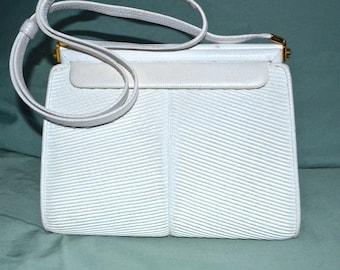 Vintage Judith Leiber White Snake Skin Handbag 1980s
