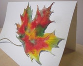 Original Watercolor, Autumn Leaf, Blank Greeting Card, Gift Tags