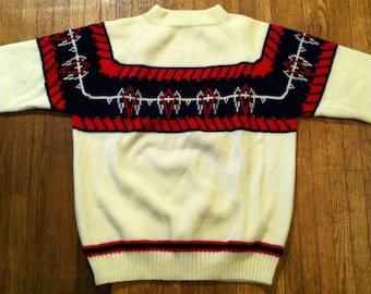 Vintage 1970's pullover knit sweater, M-L